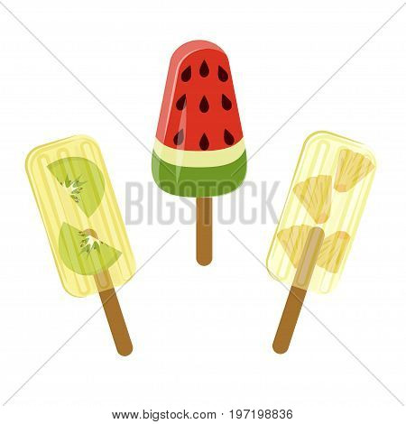 Set of Popsicles with berries and fruits isolated ob white background. Top view ice-cream vector illustration eps 10