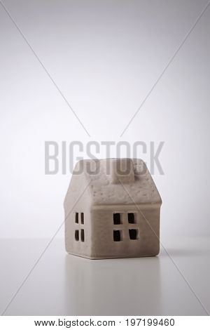clay model house on the white background