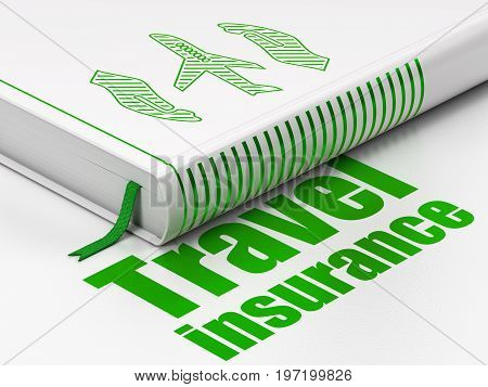 Insurance concept: closed book with Green Airplane And Palm icon and text Travel Insurance on floor, white background, 3D rendering