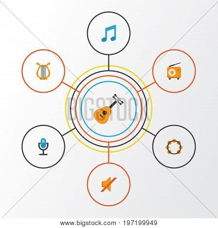 Multimedia Flat Icons Set. Collection Of Sonata, Tone, Karaoke And Other Elements