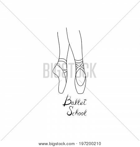 Ballet school logo design. Theatre Performance sign. Ballerina dance icon