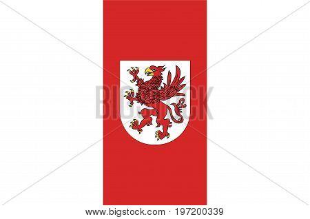 Flag of West Pomeranian Voivodeship or West Pomerania Province in northwestern Poland. Vector illustration