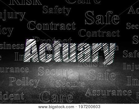 Insurance concept: Glowing text Actuary in grunge dark room with Dirty Floor, black background with  Tag Cloud