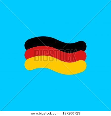 German Flag Linear Style. Sign Of State Of Germany. Symbol Of Federal Republic Of Germany