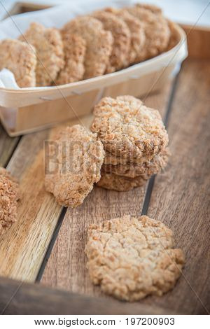Freshly home baked sweet oatmeal Anzac cookies