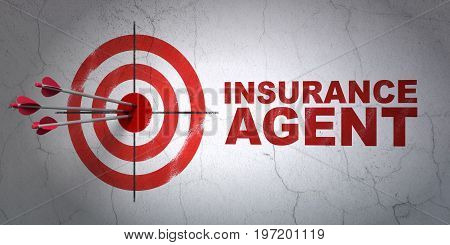 Success Insurance concept: arrows hitting the center of target, Red Insurance Agent on wall background, 3D rendering