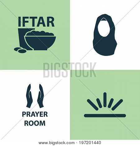 Holiday Icons Set. Collection Of Meal, Kerchief, Pray And Other Elements