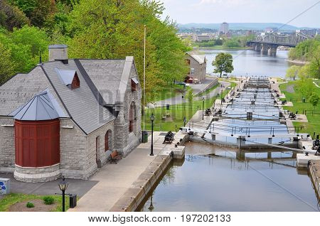 Rideau Canal in downtown Ottawa, Ontario, Canada. Rideau Canal was registered as a UNESCO World Heritage Site for the reason of the oldest continuously operated canal system in North American.