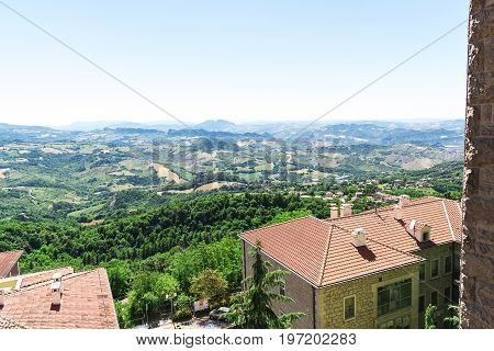 The top view of the roofs of the houses and the city of San Marino