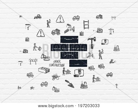 Building construction concept: Painted black Bricks icon on White Brick wall background with  Hand Drawn Building Icons