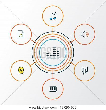 Music Colorful Outline Icons Set. Collection Of List, Sound, Headphones And Other Elements