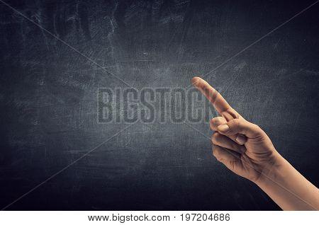 Man hand showing forefinger