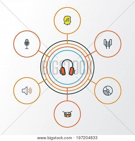 Audio Colorful Outline Icons Set. Collection Of Barrel, Volume, Lover And Other Elements