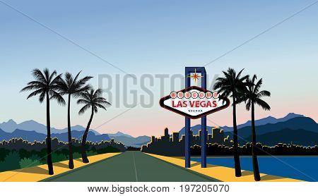 Las Vegas city road skyline. Travel USA background. Landscape with Las-Vegas sign