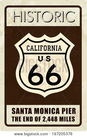 Retro route 66 sign. Historic roud banner. Travel California USA background. Interstate route icon