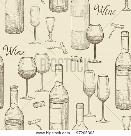 Drink wine seamless doodle pattern. Wine card bar background