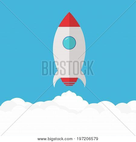 Rocket launch. Rocket ship above clouds. Project startup and development process. Vector