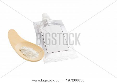 Blank Spout Pouch With Cap Or Doy Pack And Wood Spoon. Isolated On White Background With Clipping Pa