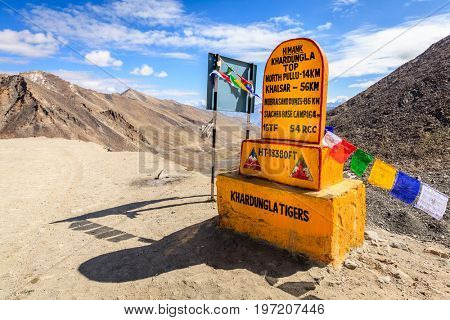 Ladakh, India, July 13, 2016: Khardungla Top - the highest motorable pass in the world at 18300ft. Ladakh, Kashmir, India