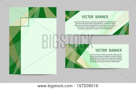 Layout set: cover and two banners. Green geometric backgrounds with text place. Modern technology templates for brochures, booklets, leaflets, posters, presentations, annual reports. Vector EPS10