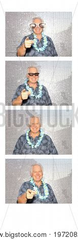 A man smiles and poses for his Photo Strip on white with 4 photos. Photo Booth Photo Strip.