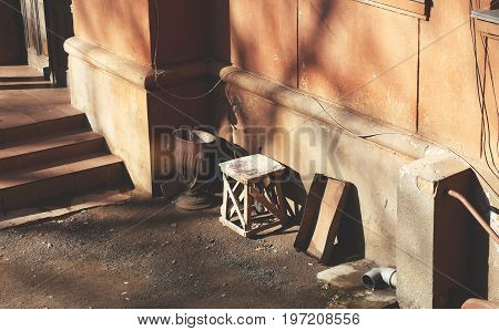 Background For The Creative Design Concept Of Poverty, Misery And Ruin. Detail Of The Facade Of The