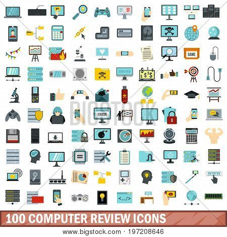 100 computer review icons set in flat style for any design vector illustration