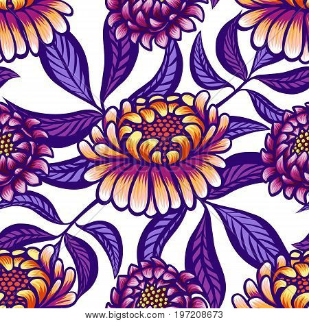 Floral hand drawn vintage seamless pattern with flowers and leaves. Fabulous orange-purple flowers and lilac leaves on a white background. Tropical seamless pattern with exotic vivid leaves. Exotic textile botanical design. Summer design. Vector illustrat