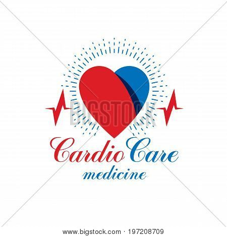 Cardiology vector conceptual emblem made with a heart pulsating electrocardiogram. Cardiology diagnosis clinic logotype.