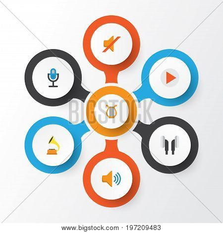 Music Flat Icons Set. Collection Of Quiet, Button, Shellac And Other Elements