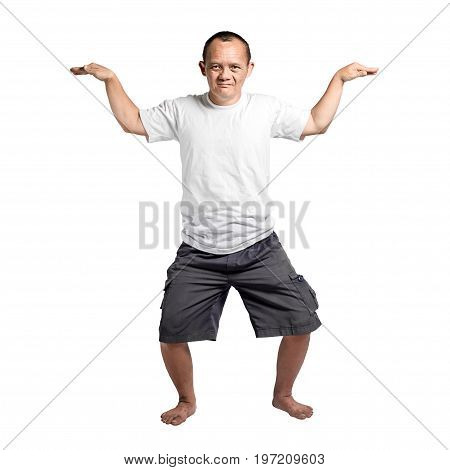 Portrait Of A Man With Down Syndrome. Isolated On White Background With Clipping Path