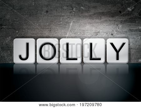 The word Jolly concept and theme written in 3D white tiles on a dark background.