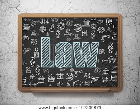 Law concept: Chalk Blue text Law on School board background with  Hand Drawn Law Icons, 3D Rendering