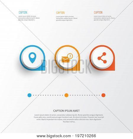 Media Icons Set. Collection Of Inbox, Pin, Publish And Other Elements