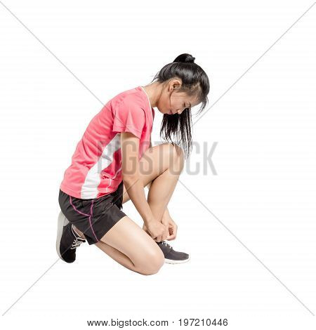 Portrait Of An Asian Sport Woman Tying His Shoes For Running. Isolated Full Length On White Backgrou