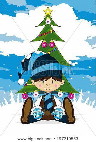 Elf & Christmas Tree Scene