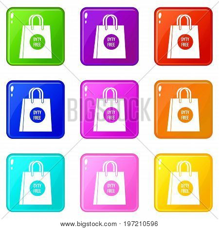 Duty free shopping bag icons of 9 color set isolated vector illustration