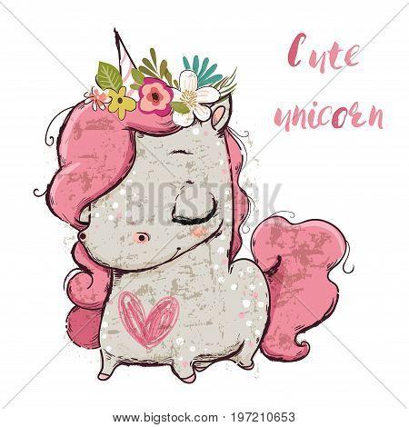 Cute cartoon unicorn with flower wreath and heart