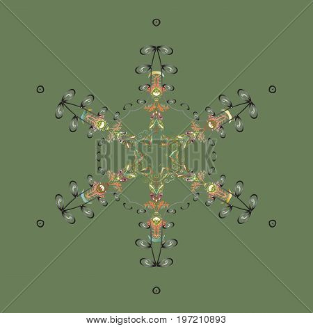 Vector illustration. Christmas snowflake of decoration on snow. Christmas festive background.