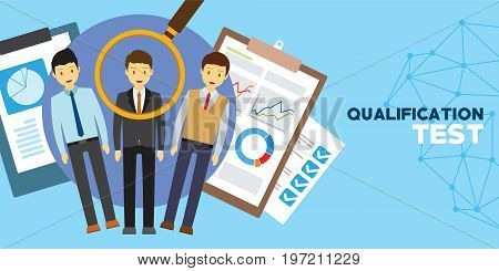 qualification and skill test for employment vector illustrator concept