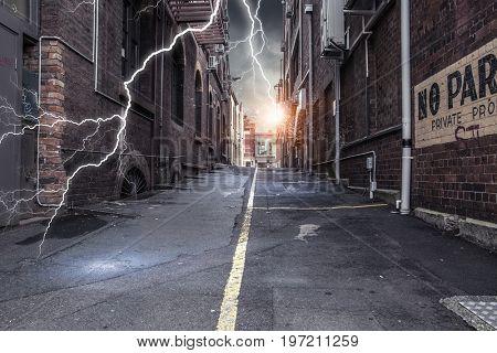 Strike of lightning. Mixed media