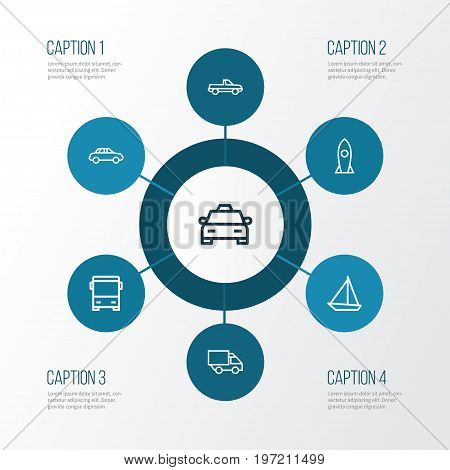 Transportation Outline Icons Set. Collection Of Rocket, Sailing Ship, Camion And Other Elements