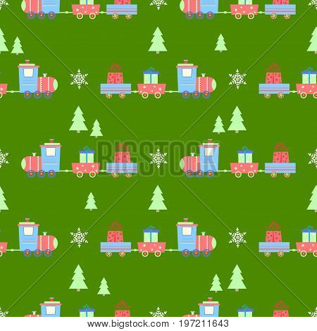 Steam locomotive Christmas tree new year seamless pattern vector