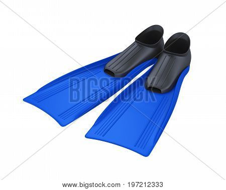 Blue Flippers isolated on white background. 3D render