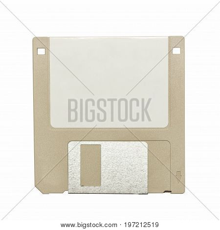 top view of a beige vintage floppy disk on white background