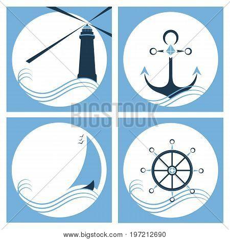 Marine set. Lighthouse. Anchor. Ship. Steering wheel