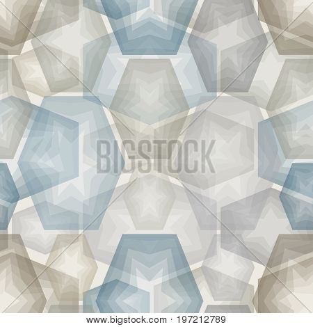 Seamless square abstract brown hexagon tile pattern