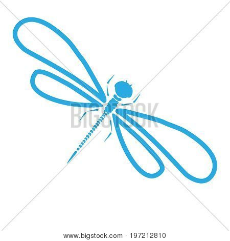 Dragonfly blue silhouette. Cartoon graphic illustration of damselfly isolated with light-blue and white wings. Sketch vector insect