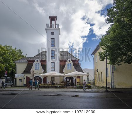 SAAREMAA, ESTONIA 7TH SPETEMBER 2012 - Street view of Historic buildings in the town of Kuressaare Saaremaa Estonia