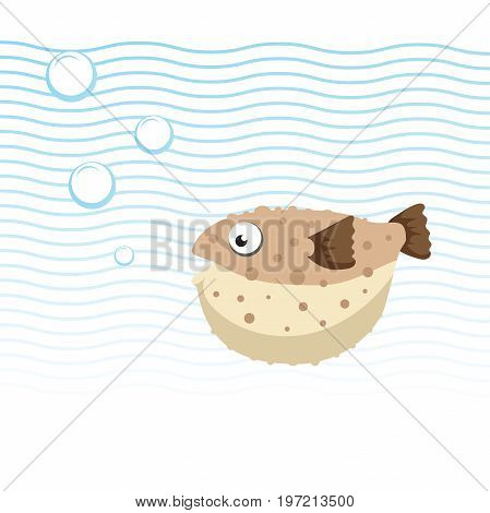 Brown blowfish cartoon character swimming underwater. Bubbles and waves. Trendy cartoon style vector illustration.